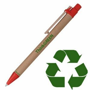 Original Eco Friendly Recycled Paper Pen w/ Red Trim
